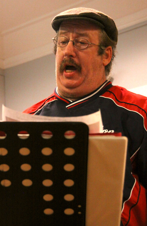 Description of . Singers Kevin Paul Wixsom of pittsfield  rehearse on Tuesday evening with with the Town Players Cabaret. . October 29th 2013 Holly Pelczynski/Berkshire Eagle Staff