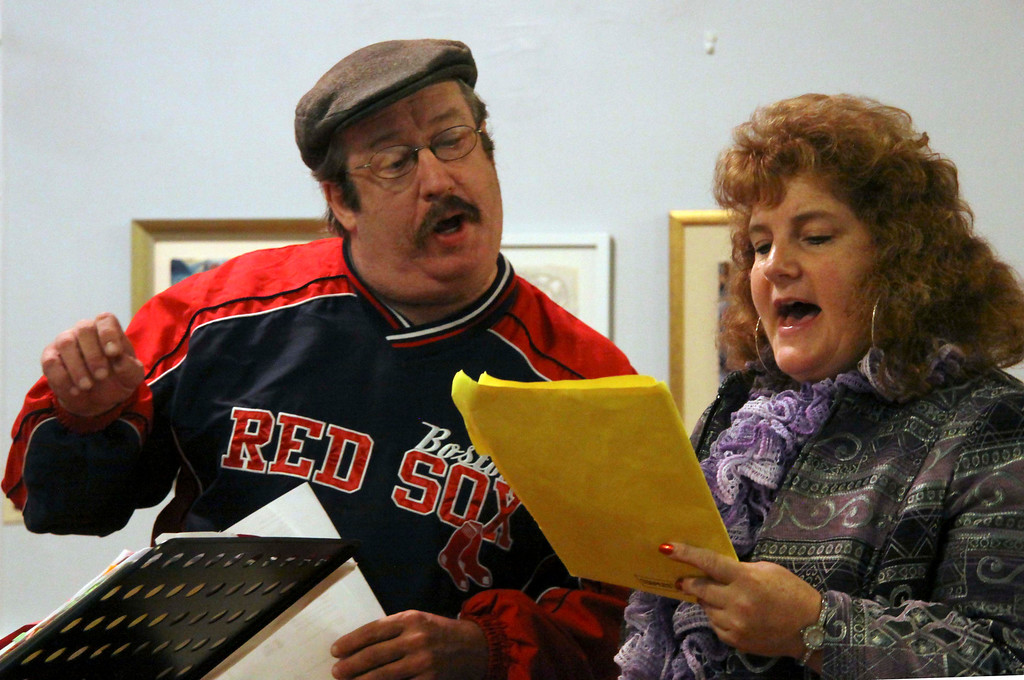 Description of . Singers Kevin Paul Wixsom of pittsfield and Janine Sniezek of Dalton rehearse on Tuesday evening with with the Town Players Cabaret. . October 29th 2013 Holly Pelczynski/Berkshire Eagle Staff