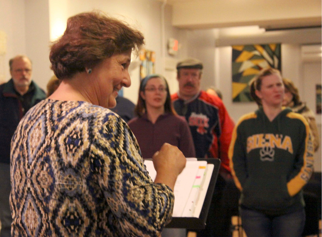 Description of . Music Director Bev Krol  leads The Town Players Cabaret singing group in a rehearsal on Tuesday evening. The rehearsal was held at the Whitney Center for the Arts. October 29th 2013 Holly Pelczynski/Berkshire Eagle Staff