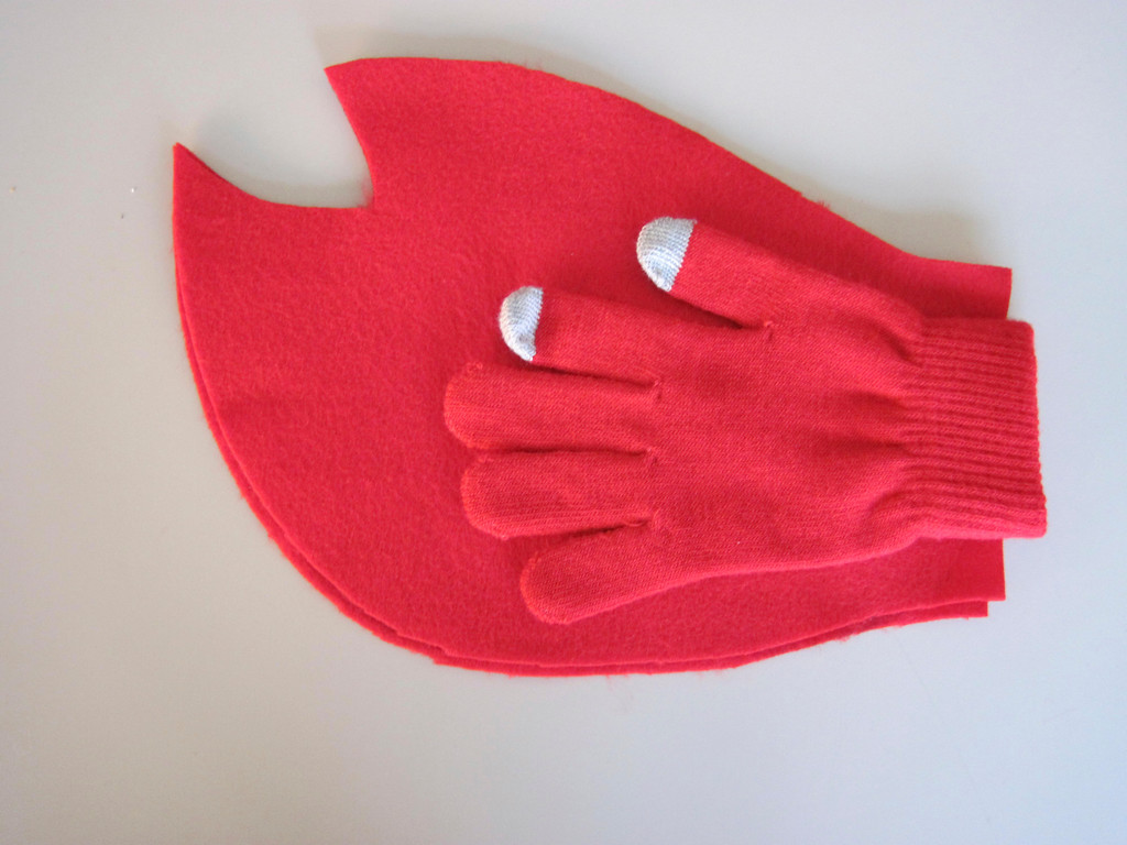 Description of . Hand-traced, hand-cut red felt lobster claw shapes hot glued over a red glove creates a DIY lobster claw, as used in a homemade 'Lobster-in-a-Pot' costume worn by Eagle features editor Lindsey Hollenbaugh. Jenn Smith/Berkshire Eagle Staff Oct. 18, 2013