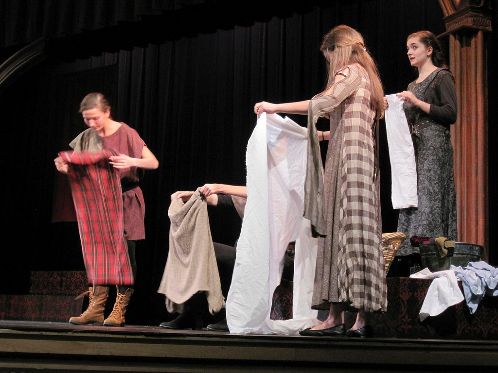 Description of . Lenox Memorial Middle and High School students perform a scene from their Fall Festival of Shakespeare production of