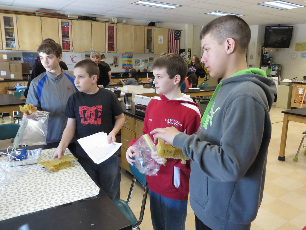 Description of . Herberg Middle School seventh graders discuss the designs of their
