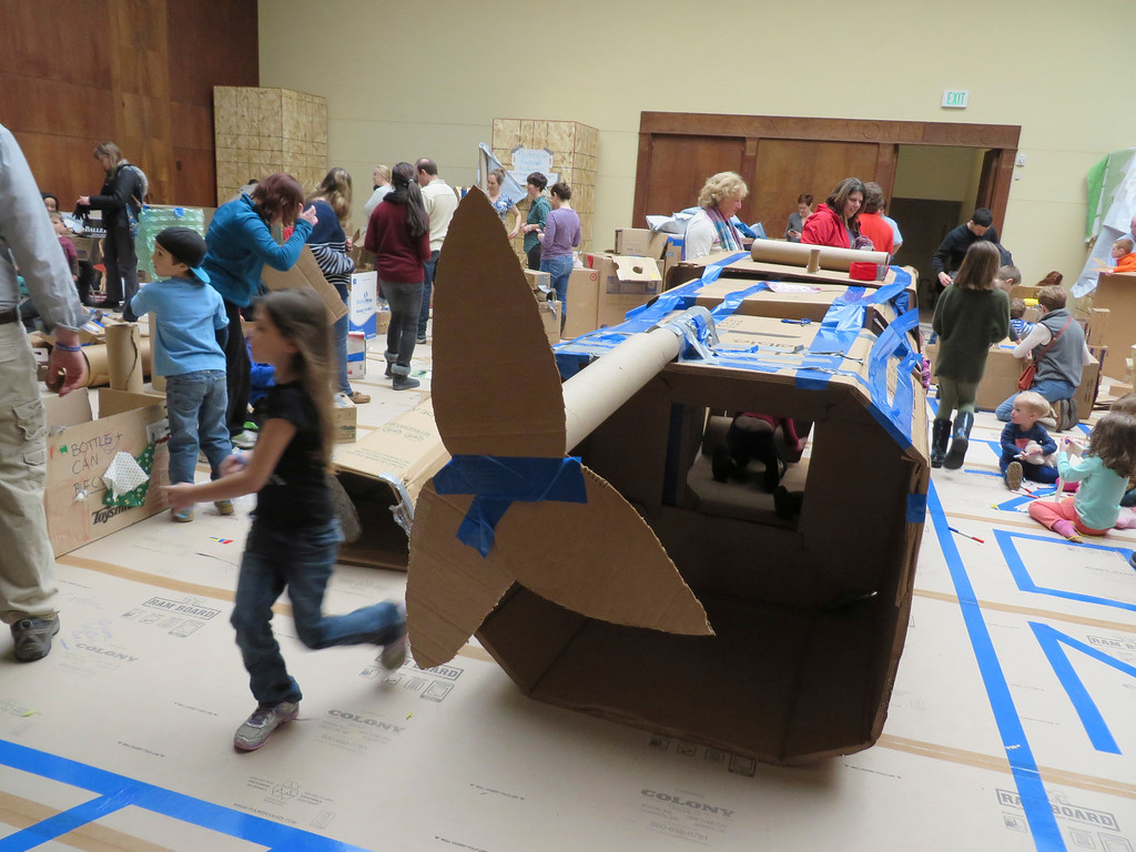 Description of . Berkshire Museum is sponsoring an interactive exhibit called 'Ten Days of Play' as part of Pittsfield's '10 x 10' festival. The museum's Crane Room is transformed into a playground of cardboard and household materials which families can use to craft their own creations. Jenn Smith/Berkshire Eagle Staff Monday, Feb. 17, 2014