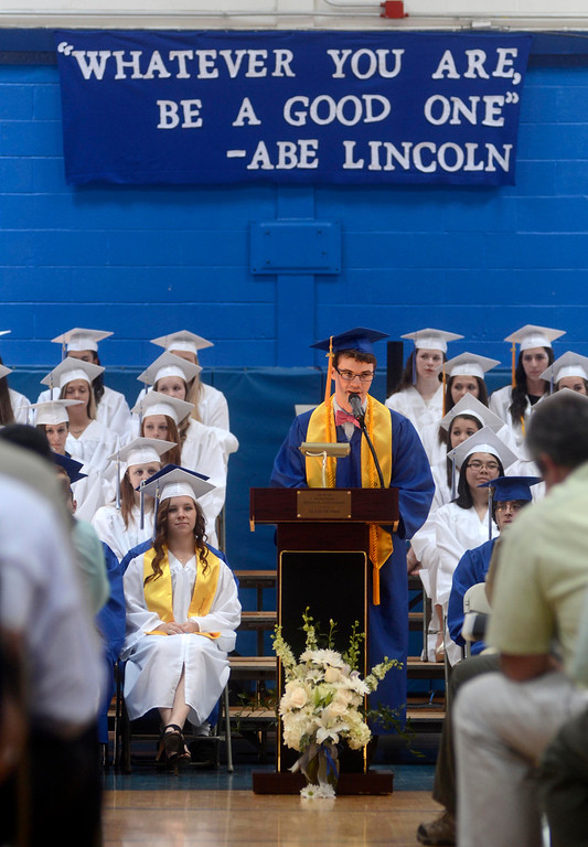Description of . Class President Dominic Carnevale addresses his fellow graduates and friends and family during the Wahconah Regional High School graduation.  June 8 2014 Caroline Bonnivier Snyder