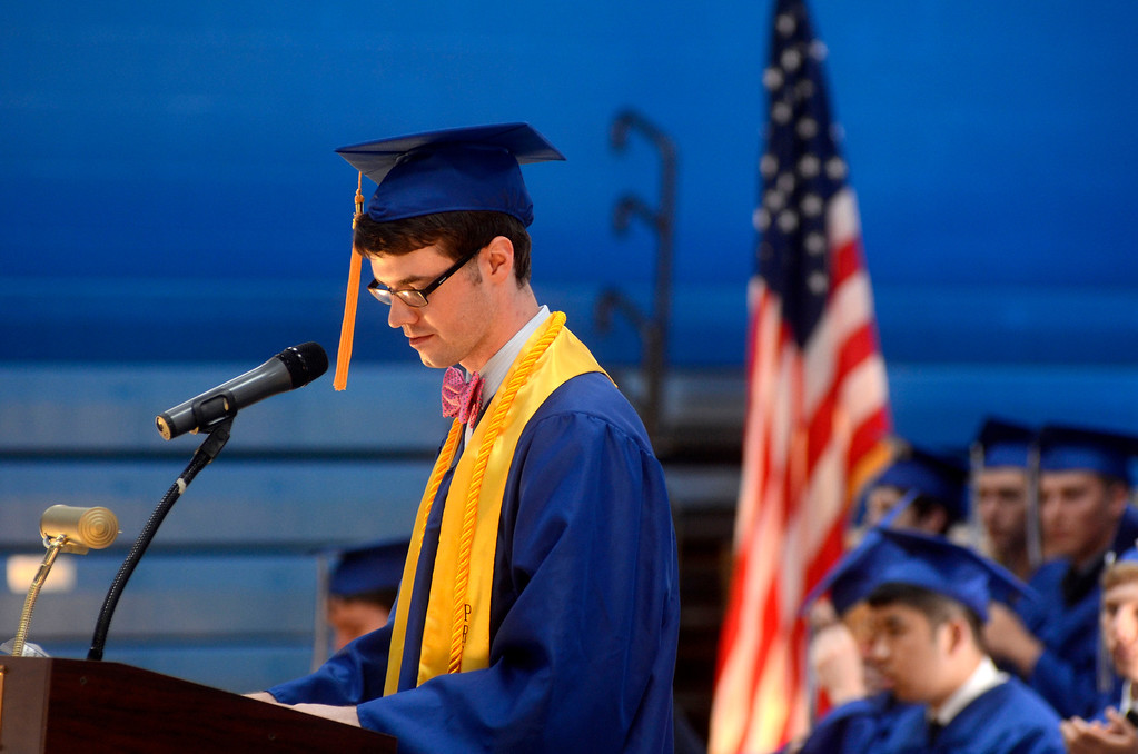 Description of . Class President Dominic Carnevale concludes his speech to his fellow graduates and friends and family during the Wahconah Regional High School graduation.  June 8 2014 Caroline Bonnivier Snyder