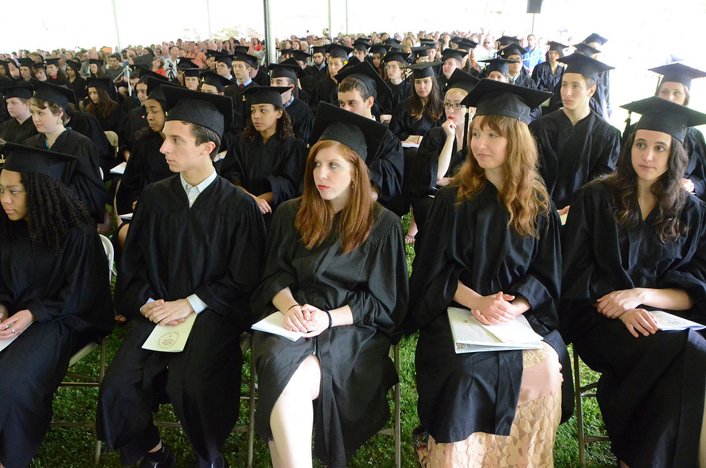 Description of . Students listen to speeches during the 45th commencement exercises at Simon's Rock of Bard College on Monday, May, 26, 2014. Gillian Jones / Berkshire Eagle Staff / photos.berkshireeagle.com