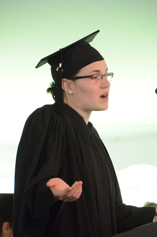 Description of . Associate of Arts Degree Candidate Pearl Carmen Weggler gives a speech at graduation exercises at Simon's Rock of Bard College on Monday, May, 26, 2014. Gillian Jones / Berkshire Eagle Staff / photos.berkshireeagle.com