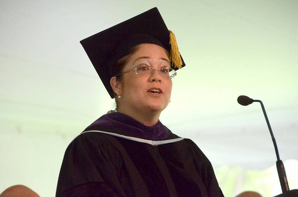 Description of . Nina Perales, vice president of Litigation for MALDEF, the Mexican American Legal Defence and Educational Fund gives the commencement address at graduation exercises at Simon's Rock of Bard College on Monday, May, 26, 2014. Gillian Jones / Berkshire Eagle Staff / photos.berkshireeagle.com