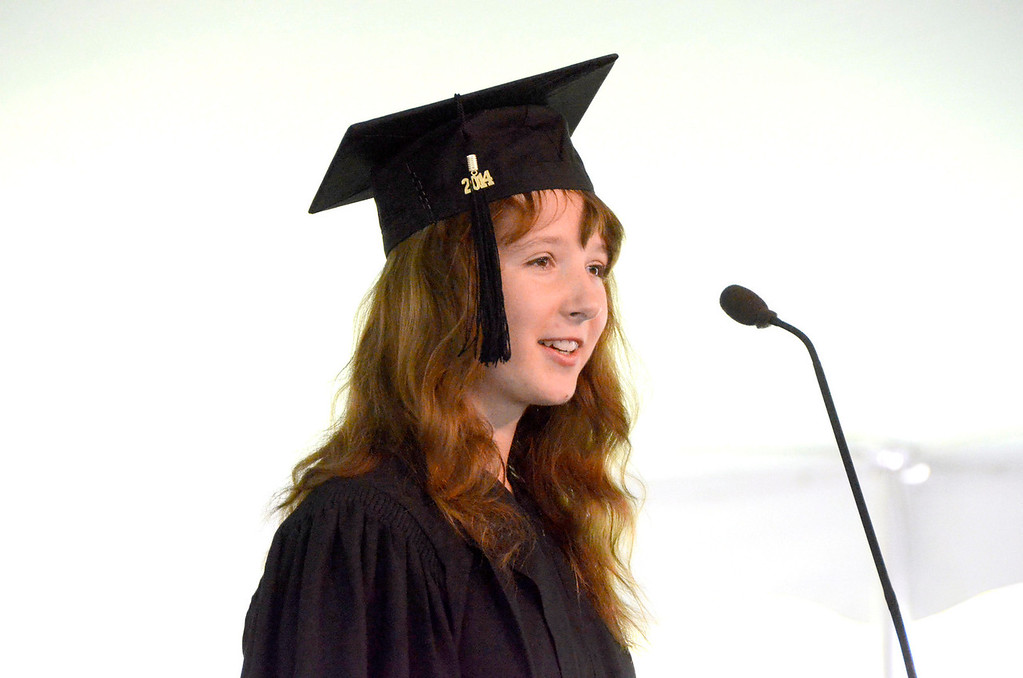 Description of . Bachelor of Arts Degree Candidate Heather C. Meehan gives a speech at graduation exercises at Simon's Rock of Bard College on Monday, May, 26, 2014. Gillian Jones / Berkshire Eagle Staff / photos.berkshireeagle.com