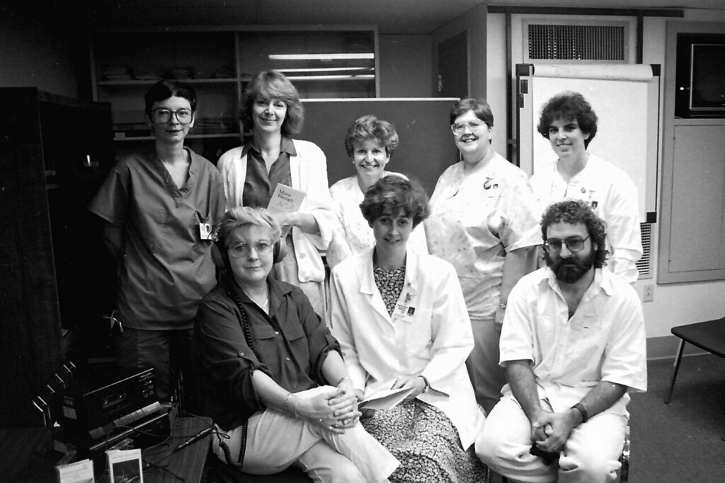 Description of . Nurses at North Adams Regional Hospital. July, 24, 1993. Gillian Jones/North Adams Transcript File