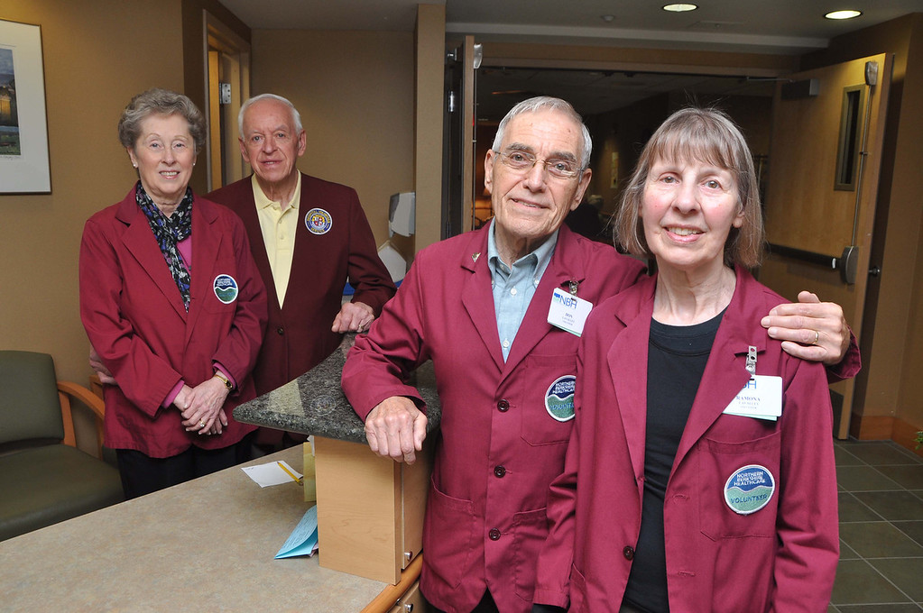 Description of . Volunteer couples at North Adams Regional Hospital are from left, Ramona and Carolyn Marcil, and Don and Ramona LaValley. File photo by Gillian Jones