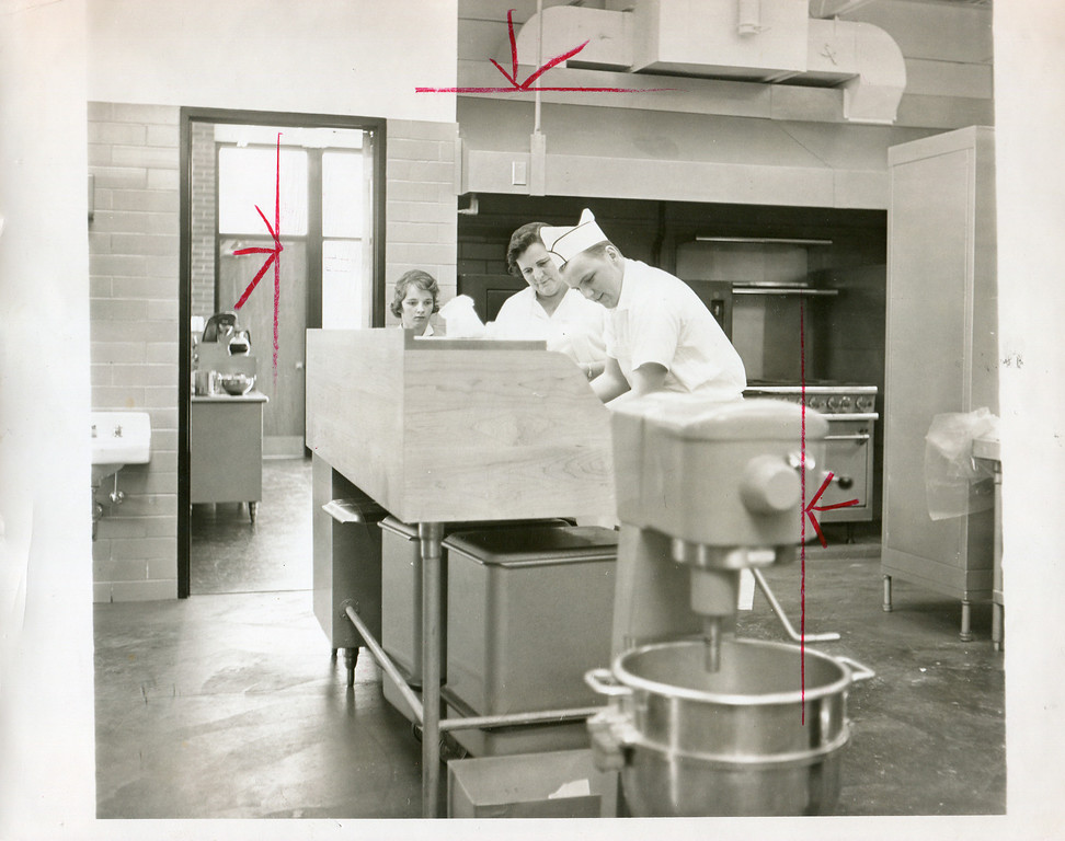 Description of . 1955 Berkshire Eagle file photograph of the kitchen at North Adams hospital.  The red marks are crop marks made with a grease pen by a page editor.