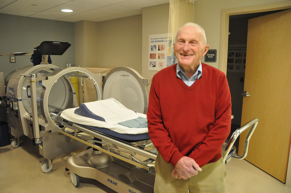 Description of . While Dr. E. Wayne Wilkins was a candidate for the hyperbaric chamber in the Wound Center at North Adams Regional Hospital, he was treated without using the chamber. The chamber is only necessary in 10 percent of those who are patients in the Wound Care Unit. December, 4, 2010. File photo by Gillian Jones