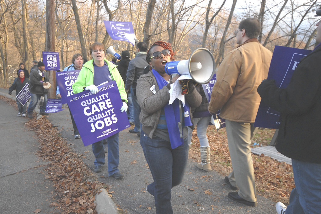 Description of . Gillian Jones/North Adams Transcript file Workers at NARH and members of Union 1199 of the United Healthcare workers held a rally on Tuesday afternoon on Hospital Avenue in front of North Adams Regional Hospital.