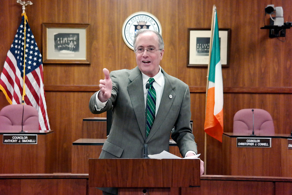 Description of . Pittsfield Mayor Dan Bianchi speaks at a reception for the delegates from sister sity Ballina, Ireland.   Friday March 14, 2014. Ben Garver Berkshire Eagle Staff