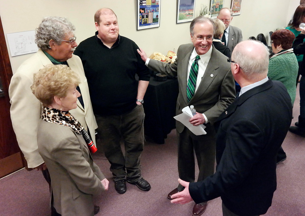 Description of . Pittsfield Mayor Dan Bianchi meets with the delegation for Ballina, Ireland at a reception in City Hall. Left to right: Ballina City Councillor Jose Egan, , Fran Curley of the Pittsfield Sister City committee, Mike Livings, Ballina Engineer, Mayor Dan Bianchi and Willie Nolan, former mayor of Ballina. Friday March 14, 2014. Ben Garver Berkshire Eagle Staff