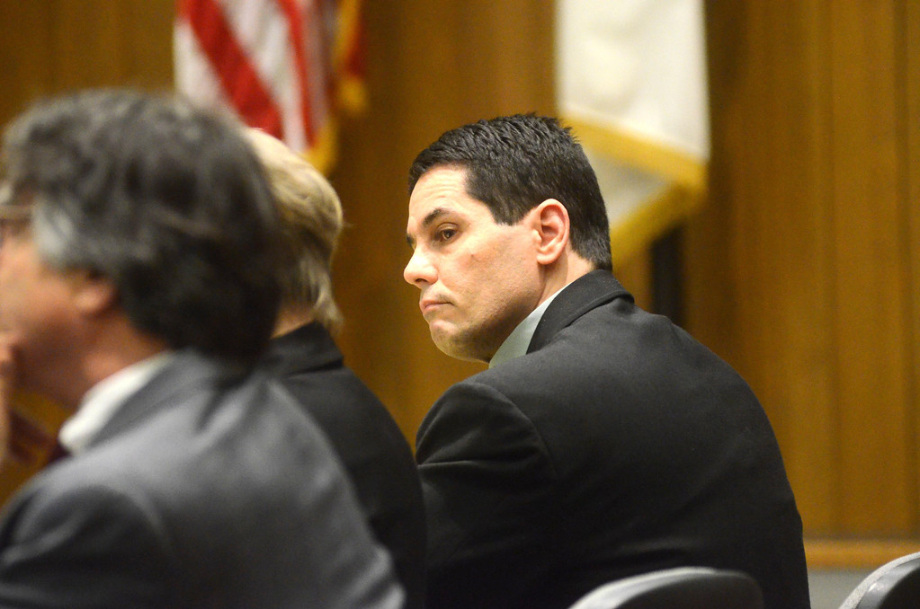 Description of . David Chalue listens to witness testimony in his trial in Hampden Superior Court in Springfield on Tuesday, April, 30, 2014. Gillian Jones / Berkshire Eagle Staff / photos.berkshireeagle.com