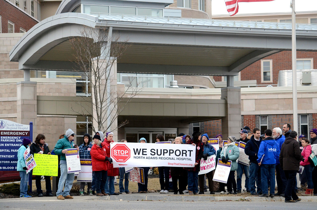 Description of . Protesters gather outside of NARH in protest, most of whom are employees of the hospital slated for closure. Thursday, March 27, 2014. Ben Garver / Berkshire Eagle Staff / photos.berkshireeagle.com