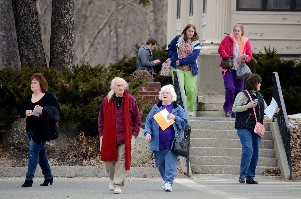 Description of . North Adams Regional Hospital employees leave anfter getting their last paychecks, Thursday March 27, 2014.  Ben Garver / Berkshire Eagle Staff / photos.berkshireeagle.com