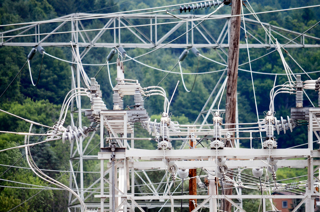 Description of . Power routhed to North Berkshire passes through thte Adams substation on Zylonite Street.  Tuesday July8, 2014.  Ben Garver / Berkshire Eagle Staff / photos.berkshireeagle.com