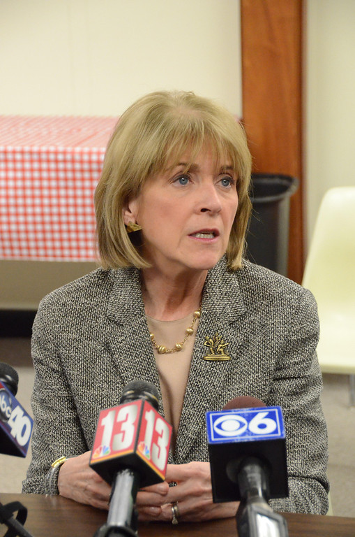 Description of . Attorney General Martha Coakley speaks to the media in North Adams City Hall after meeting with State Senator Benjamin Downing, Mayor Richard Alcombright, and State Representative Gailanne Cariddi on Tuesday, April, 1, 2014 about a plan of action for North Adams Regional Hospital which closed on Friday. Gillian Jones / Berkshire Eagle Staff / photos.berkshireeagle.com
