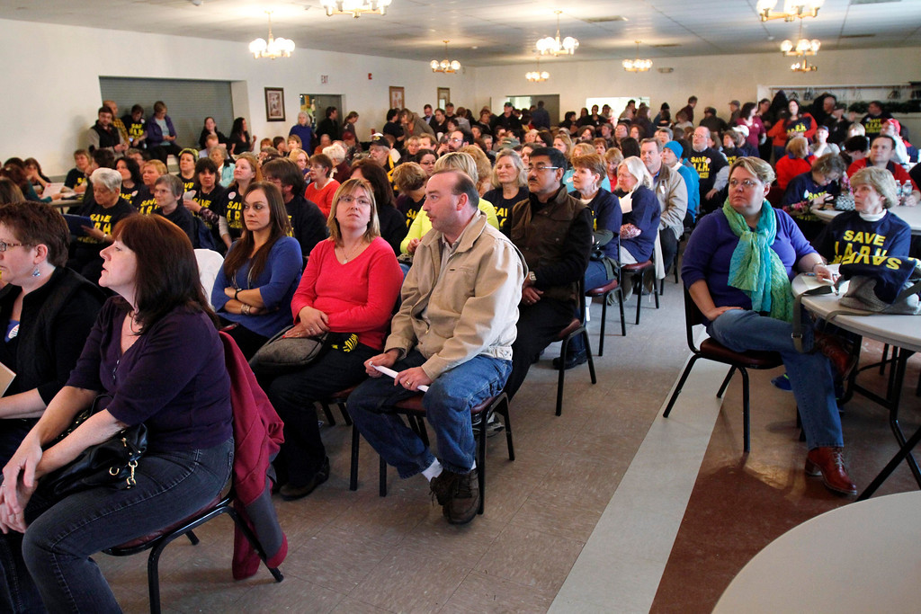 Description of . It is a packed house at the American Legion in North Adams for the second community meeting regarding the closure of NARH. Tuesday, April 1, 2014. Stephanie Zollshan / Berkshire Eagle Staff / photos.berkshireeagle.com