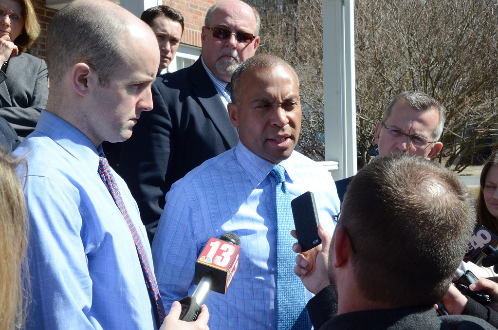 Description of . Governor Deval Patrick speaks to the media during a break from talks with area legislators in the Office of the President at the Massachusetts College of Liberal Arts on Tuesday, April, 1, 2014.  Gillian Jones / Berkshire Eagle Staff / photos.berkshireeagle.com