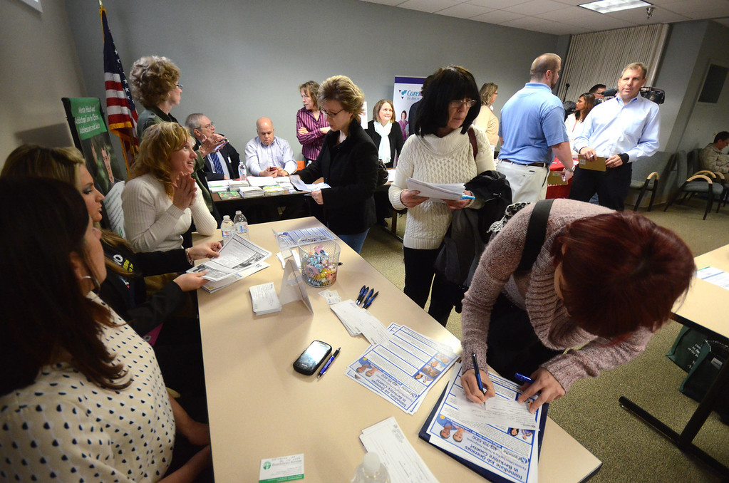 Description of . Over a dozen vendors and other organizations participated in job fair, for health care workers, in The Clark House on the campus of North Adams Regional Hospital on Wednesday, April, 2, 2014. Gillian Jones / Berkshire Eagle Staff / photos.berkshireeagle.com