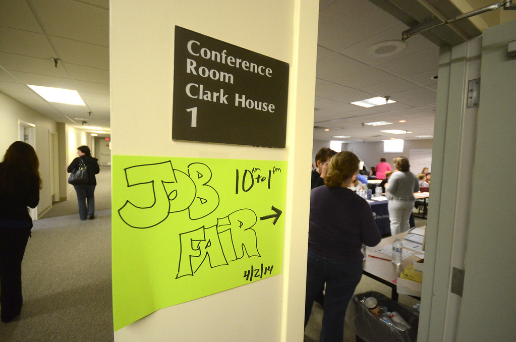 Description of . Over a dozen vendors and other organizations participated in job fair, for health care workers, in conference room of The Clark House on the campus of North Adams Regional Hospital on Wednesday, April, 2, 2014. Gillian Jones / Berkshire Eagle Staff / photos.berkshireeagle.com