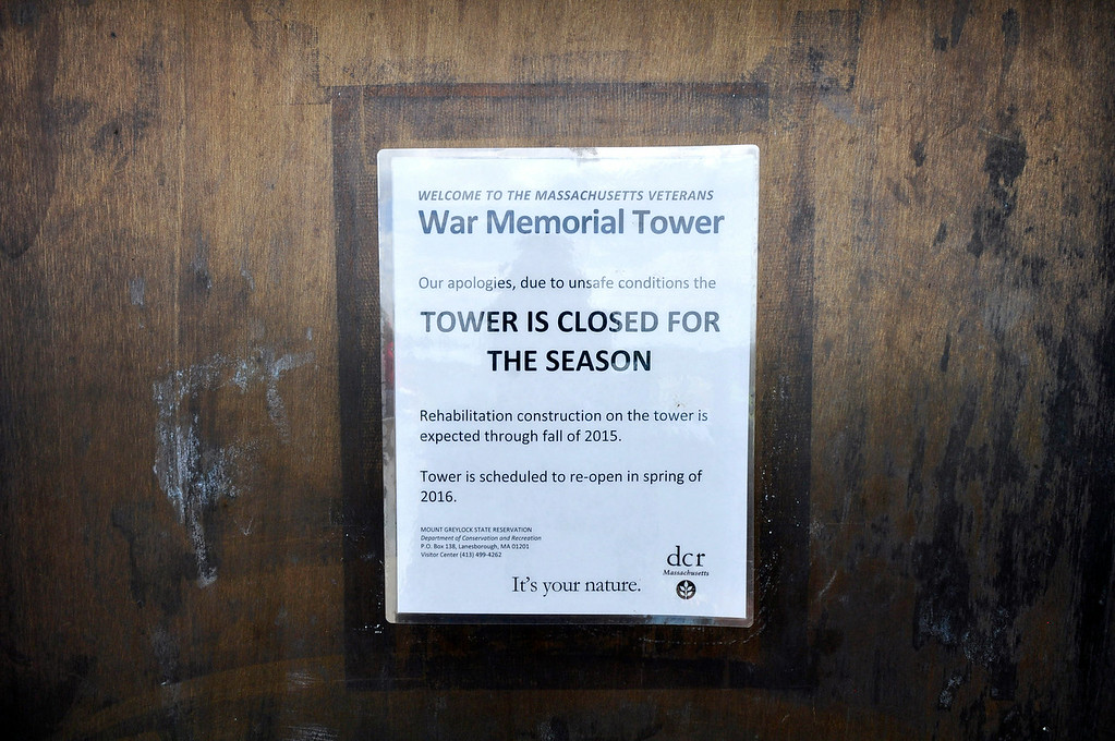 Description of . The Massachusetts Veterans War Memorial Tower is closed due to unsafe conditions. Rehabilitation of the tower is expected through 2015 with a planned re-opening in 2016. Gillian Jones / Berkshire Eagle Staff / photos.berkshireeagle.com