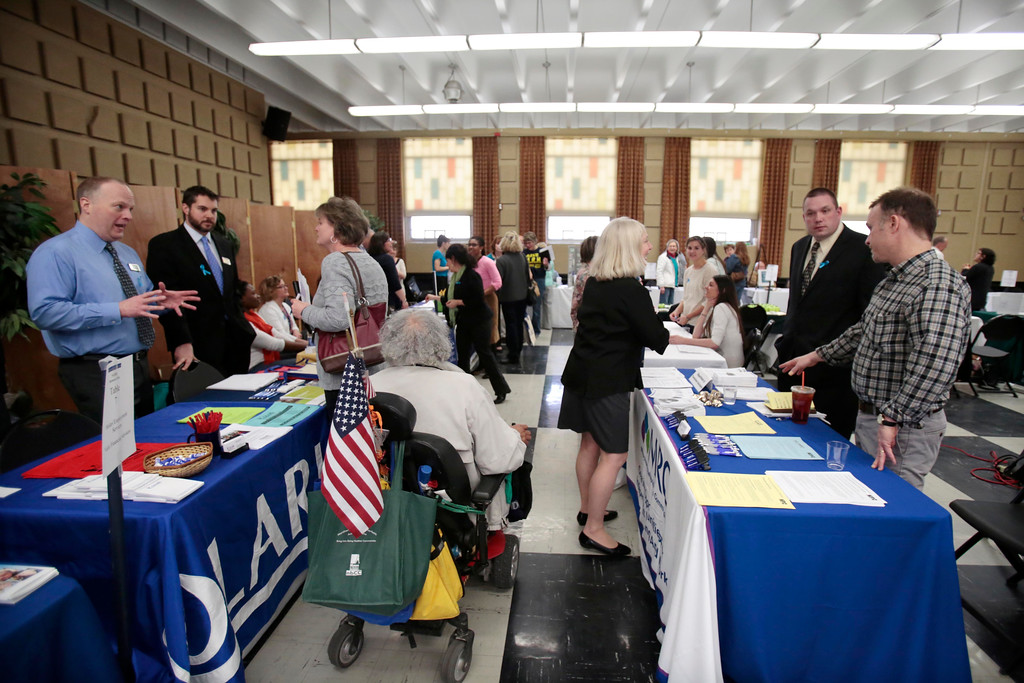 Description of . A North Adams Regional Hospital (NARH) community resource fair for the former NARH employees is held in the Church Street Center social hall on the MCLA campus. Friday, April 11, 2014. Stephanie Zollshan / Berkshire Eagle Staff / photos.berkshireeagle.com