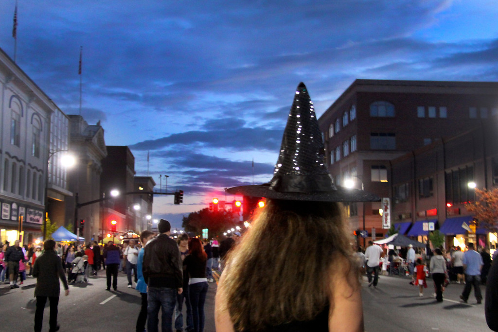 Description of . Pittsfield residents haunted the streets of pittsfield during the 3rd thursday evernt in Pittsfield held on North St. The theme was Moster Mash, guests were invited to wear their scariest costumes. 10/17/13 Holly Pelczynski/Berkshire Eagle Staff