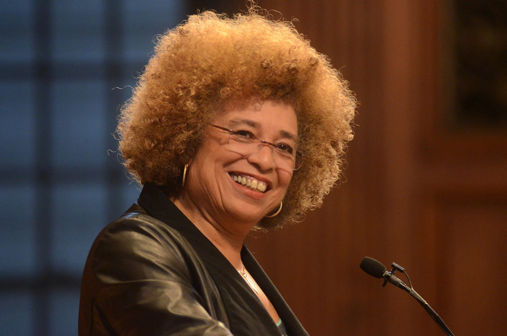 Description of . Political activist and scholar Angela Davis presents a lecture titled, 'Leadership in the 21st Century,' in Chapin Hall at Williams College on Saturday, April, 12, 2014. Gillian Jones / Berkshire Eagle Staff / photos.berkshireeagle.com