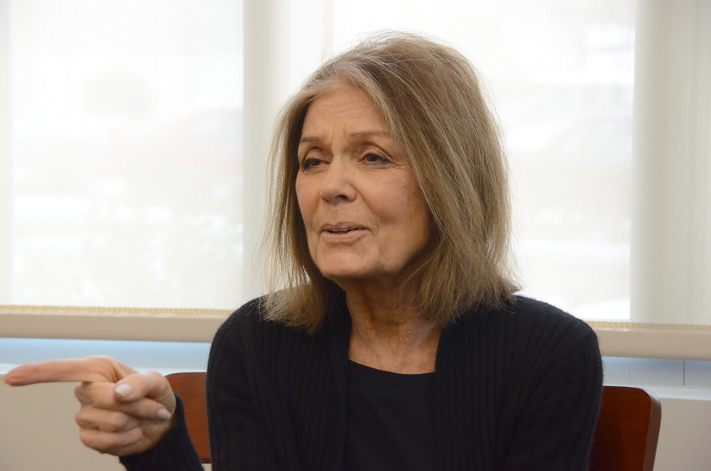 Description of . Gloria Steinem speaks to the media during a press conference in the Feigenbaum Center for Science and Innovation on Tuesday, March, 4, 2014. Gillian Jones / Berkshire Eagle Staff / photos.berkshireeagle.com