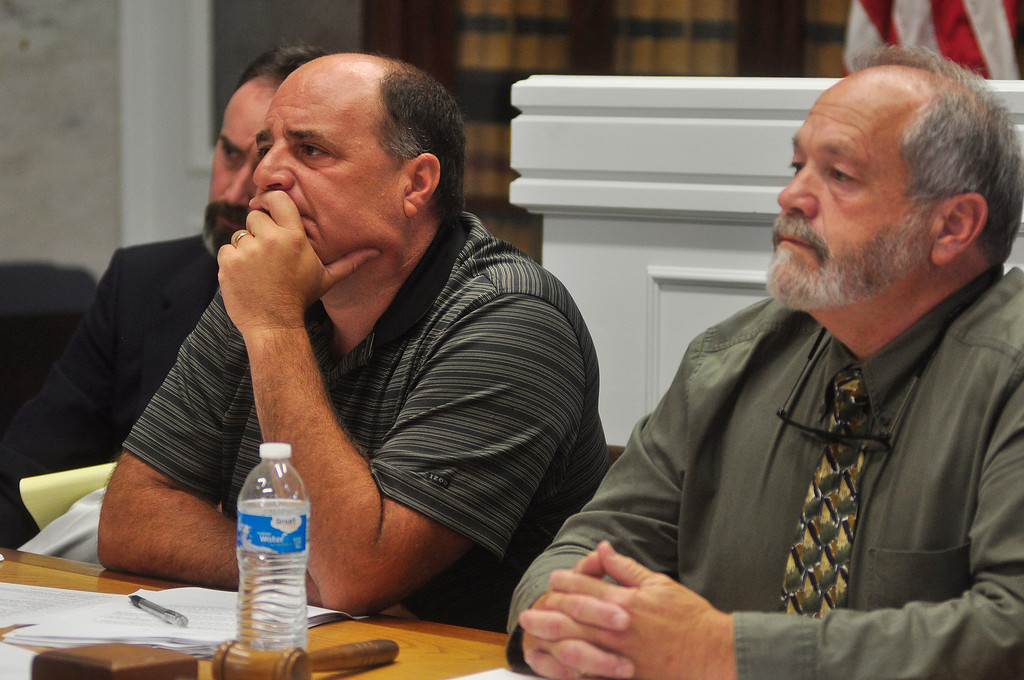 Description of . Lee selectmen David Consolati and George Bailey.  Tuesday August 20 2013 Caroline Bonnivier Snyder / Berkshire Eagle Staff