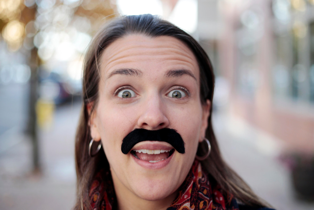 Description of . Leah Casucci sports her 'Movember' moustache in Pittsfield. Friday, November 8, 2013. (Stephanie Zollshan | Berkshire Eagle Staff)