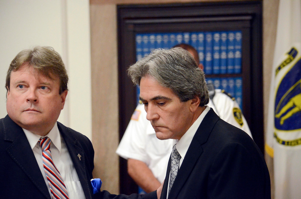 Description of . Paul Capitanio (right) is arraigned Berkshire Centeral District Court on drug related charges, Tuesday August 20, 2013.  Attorney Timothy Shugrue is on the left. Ben Garver / Berkshire Eagle Staff