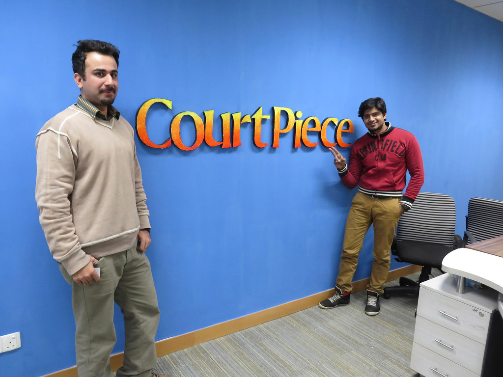 Description of . Abdul Moeed, 27, left, and Affan Aziz, 26, are the co-founder and graphic designer respectively for the startup company Court Piece (Rung). Court Piece produced a Facebook gaming app based off a popular card game, and now has 10,000 registered users. Court Piece is one of many startups supported by tech incubator Plan 9, part of the Punjab Information Technology Board based in Lahore, Pakistan. Jenn Smith/Special to The Eagle February 2014