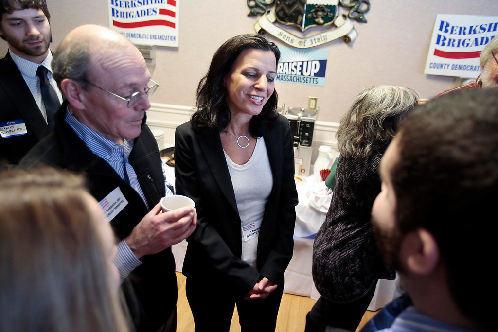 Description of . Candidate Juliette Kayyem talks with supporters at a Democratic party gubernatorial candidate meet-and-greet held by the Berkshire Brigades at the ITAM lodge in Pittsfield. Sunday, January 26, 2014. (Stephanie Zollshan   Berkshire Eagle Staff)