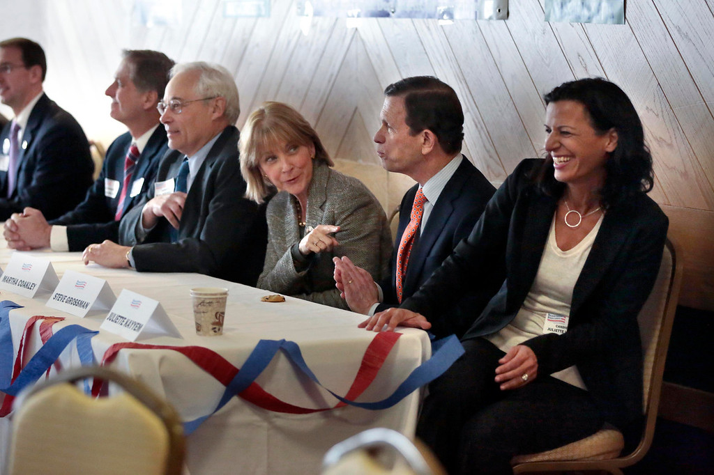 Description of . Democratic gubernatorial candidates Joe Avellone, left, Don Berwick, center left, Martha Coakley, center, Steve Grossman, center right, and Juliette Kayyem, right, sit down for a candidate meet-and-greet held by the Berkshire Brigades at the ITAM lodge in Pittsfield. Sunday, January 26, 2014. (Stephanie Zollshan   Berkshire Eagle Staff)