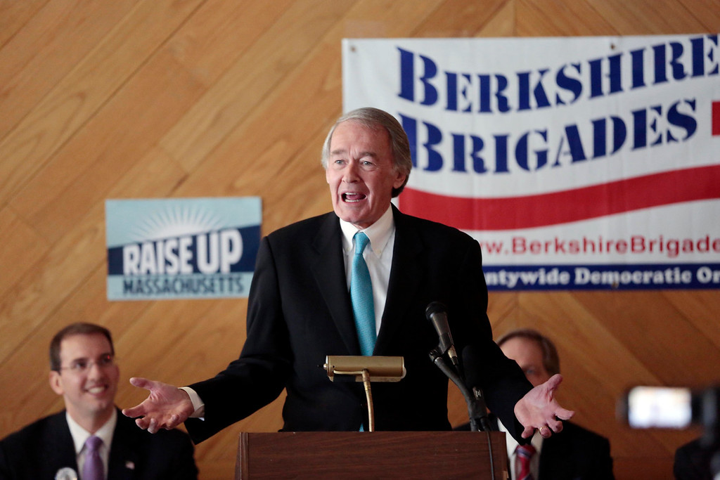 Description of . Senator Ed Markey speaks at a Democratic party gubernatorial candidate meet-and-greet held by the Berkshire Brigades at the ITAM lodge in Pittsfield. Sunday, January 26, 2014. (Stephanie Zollshan   Berkshire Eagle Staff)