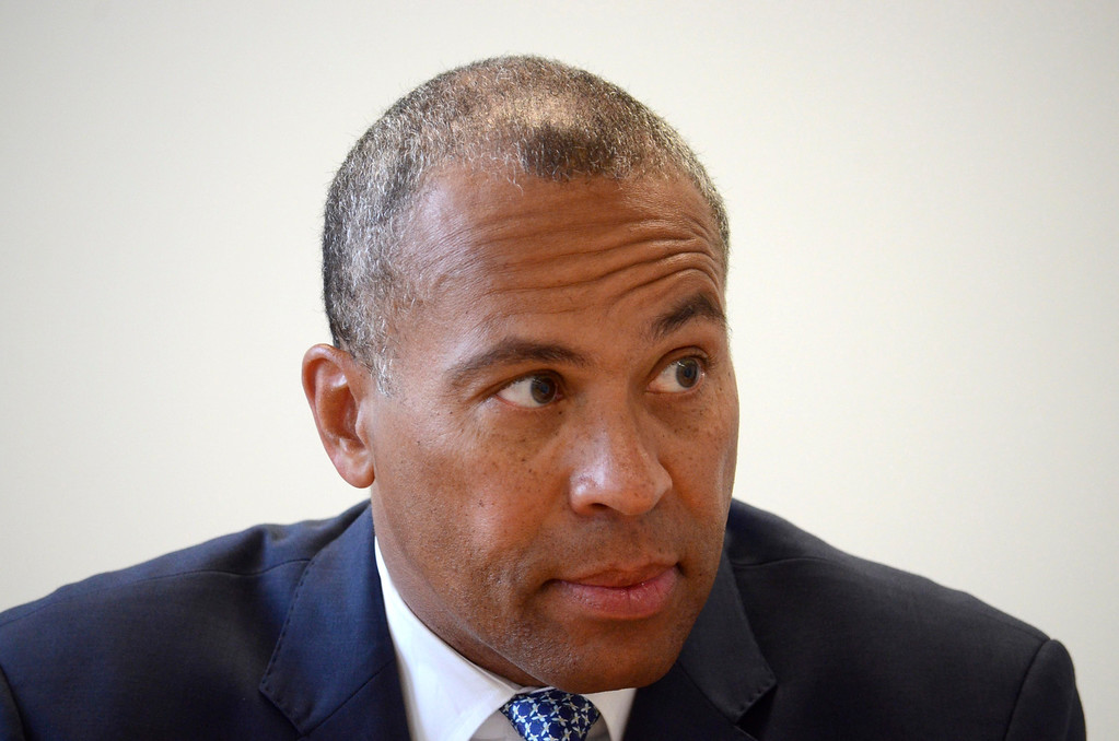 Description of . Governor Deval Patrick responds to the Berkshire Eagle editorial board, Monday June 9, 2014.  Ben Garver / Berkshire Eagle Staff / photos.berkshireeagle.com