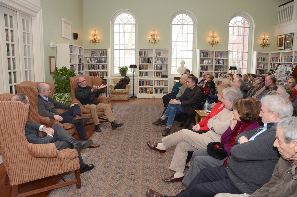 Description of . From left, state Rep. William 'Smitty' Pignatelli, state Sen. Benjamin B. Downing and David Roche, chairman of the Lenox Board of Selectmen, participate in a panel discussion titled 'Local Government: Making the System Work for You,' in the Sedgwick Reading Room at the Lenox Public Library on Sunday, March, 23, 2014. Gillian Jones / Berkshire Eagle Staff / photos.berkshireeagle.com