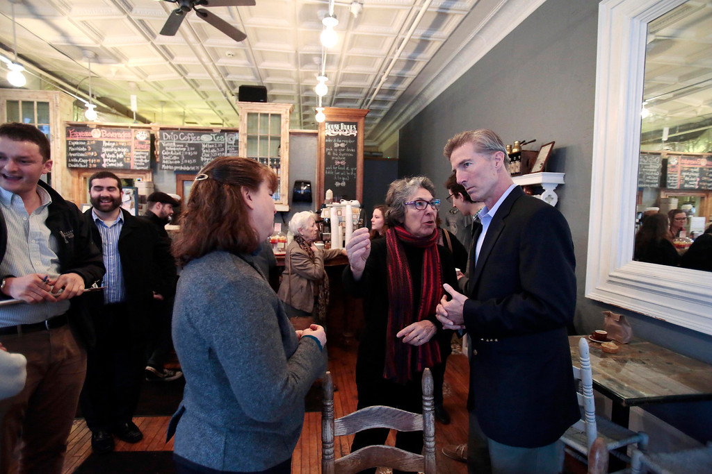 Description of . Tom Conroy meets with supporters at Dottie's Cafe in Pittsfield during a stop on his campaign trail for state treasurer. Sunday, January 12, 2014. (Stephanie Zollshan | Berkshire Eagle Staff)