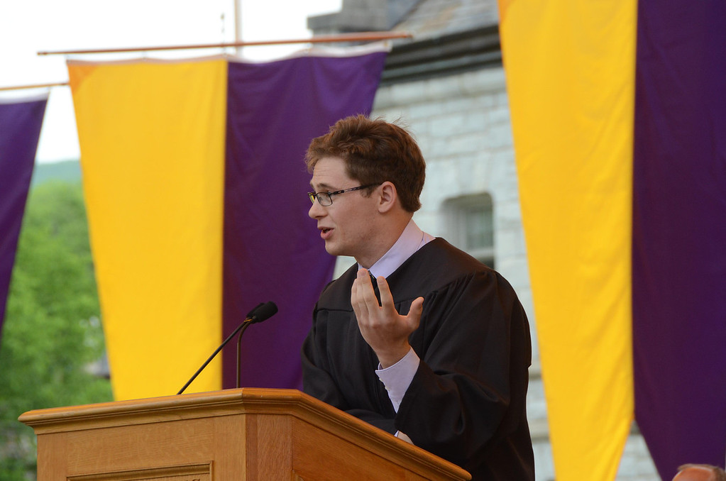 Description of . Williams College senior Ivan Badinski gives the valedictorian address at the college's 225th commencement on Sunday, June, 8, 2014. Gillian Jones / Berkshire Eagle Staff / photos.berkshireeagle.com