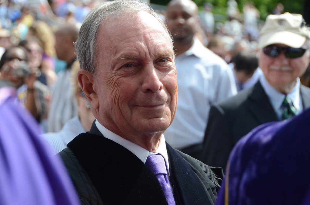 Description of . Former NYC Mayor Michael Bloomberg pauses for a moment during the procession from Chapin Hall to graduation exercises at the college's 225th commencement on Sunday, June, 8, 2014. Gillian Jones / Berkshire Eagle Staff / photos.berkshireeagle.com