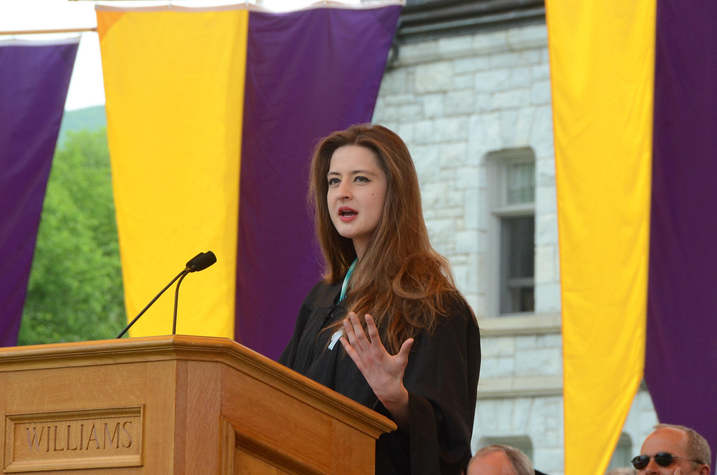 Description of . Williams College senior Julia Davis of Phi Beta Kappa gives a speech at the college's 225th commencement on Sunday, June, 8, 2014. Gillian Jones / Berkshire Eagle Staff / photos.berkshireeagle.com