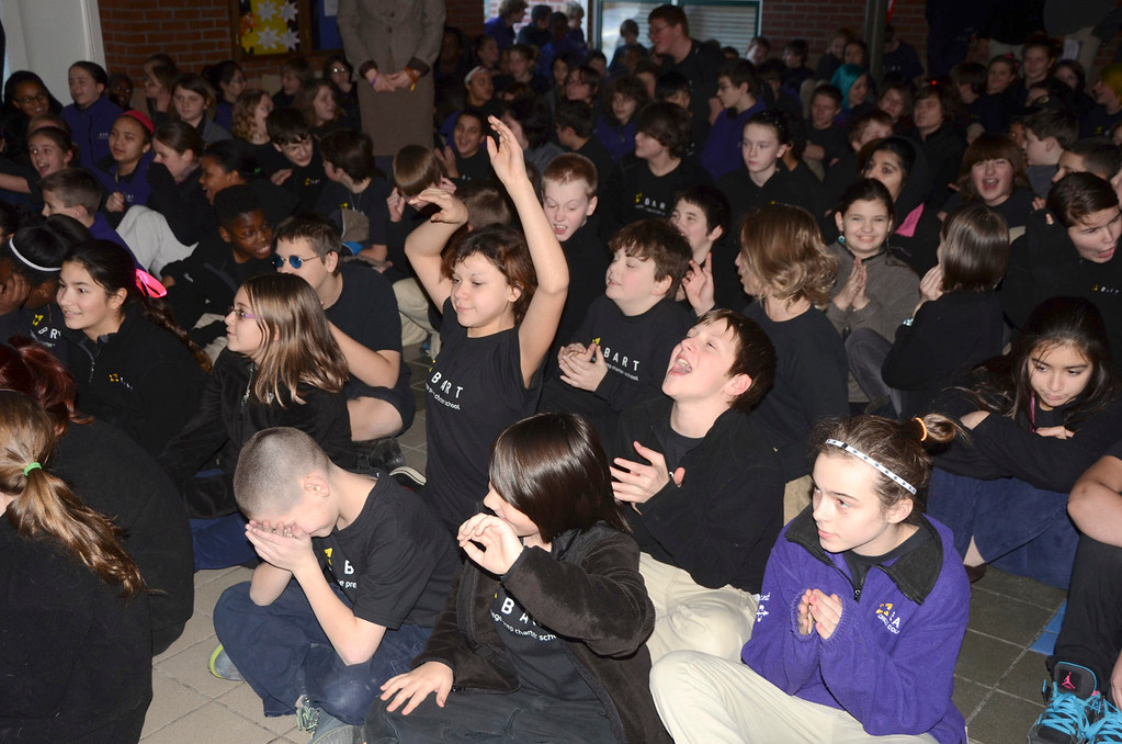 Description of . BART students participate in a school wide assembly to launch an anti-bullying campaign at the school in Adams on Thursday, Jan. 30, 2014. (Gillian Jones/Berkshire Eagle Staff)