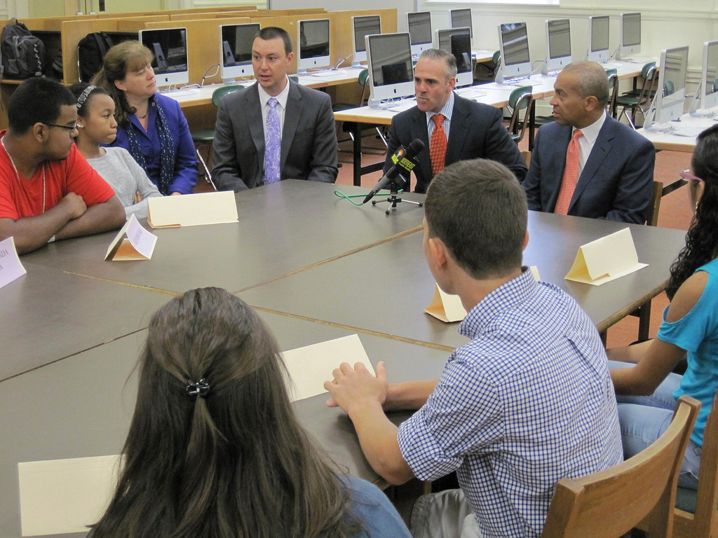 Description of . Sixteen students representatives of Pittsfield High School met in a roundtable forum with Gov. Deval Patrick, state Sec. of Education Matthew Malone and other state and local officials on Monday. The goal of the meeting was to hear and discuss students's education concerns and successes. Jenn Smith/Berkshire Eagle Staff Monday, Oct. 7, 2013