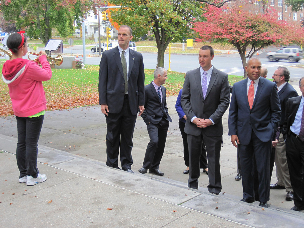Description of . Governor Deval Patrick and other state and local officials visited Pittsfield High School on Monday to participate in a roundtable discussion with students. Here, they are greeted by the PHS Marching Band. Jenn Smith/Berkshire Eagle Staff Monday, Oct. 7, 2013